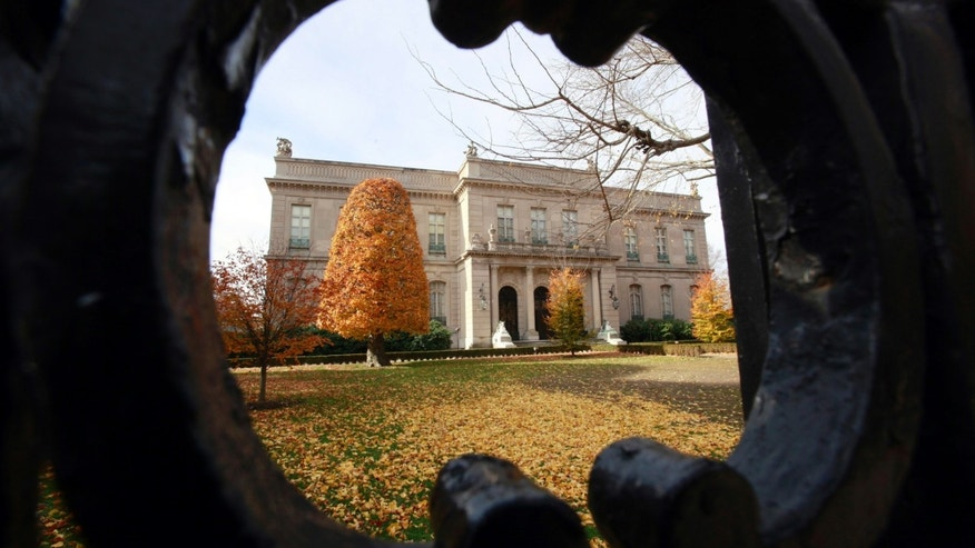 Nov. 19, 2010: The Elms mansion as seen through an opening in an iron fence, in Newport, R.I.