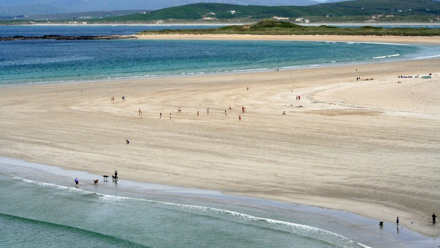 June 2, 2012: Swirls of sand, land and sea at the Portnoo Strand in County Donegal, Ireland.
