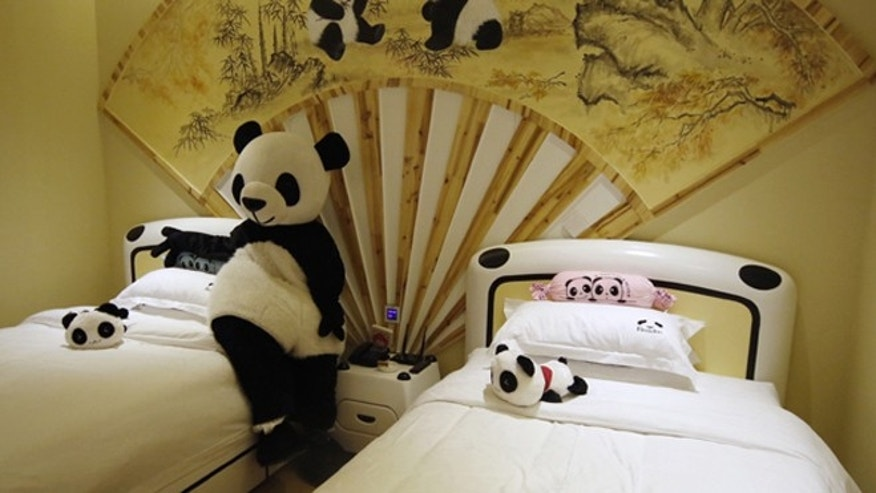 Cuddly creatures come with these rooms, painted in bright colors --and in  black and white.