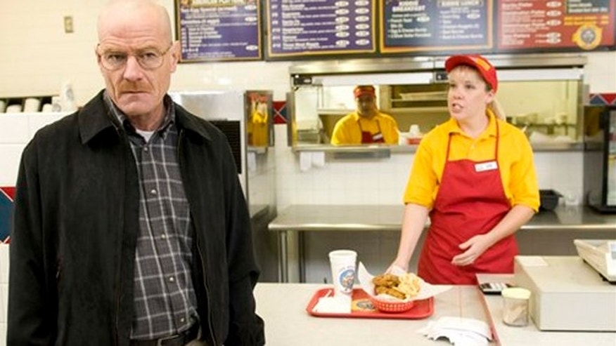 "Bryan Cranston as Walter White at the fictional restaurant ""Los Pollos Hermanos"" in a scene from season 2 of the AMC series ""Breaking Bad."""