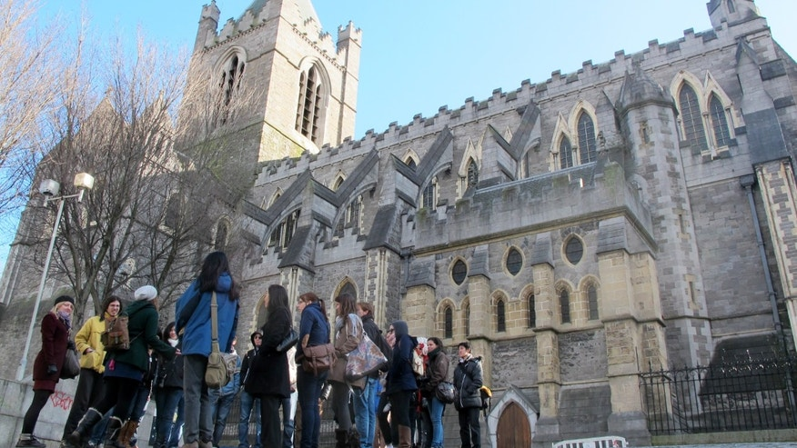 March 4, 2012: An American tourist group gathered outside Christ Church Cathedral in Dublin.