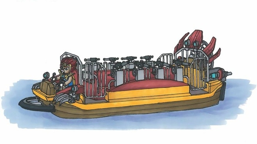 The ride, pictured above, will allow visitors to fire water cannons from aboard a watercraft to help their hero, Laval the Lion Price, defeat Cragger the Crocodile King.
