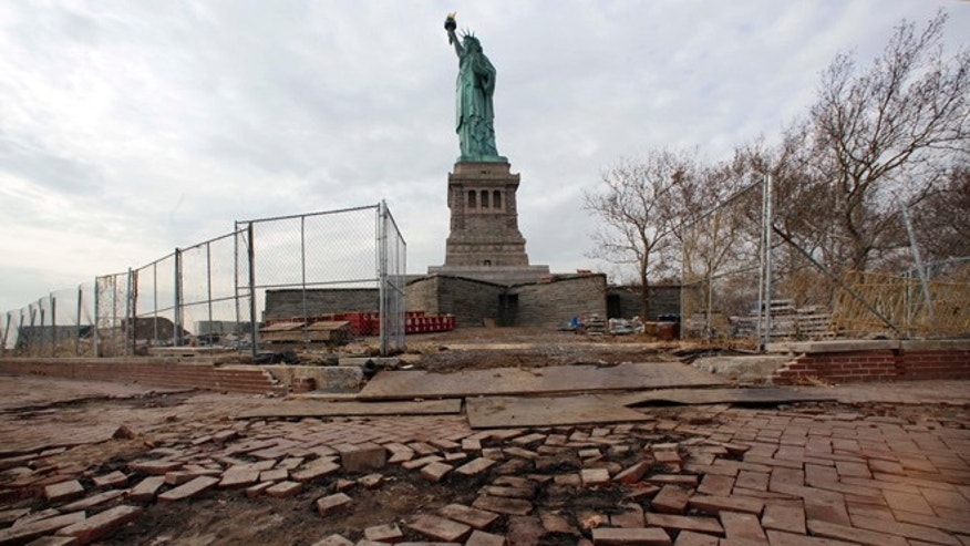 Nov. 30, 2012: In this file photo, parts of the brick walkway of Liberty Island that were damaged in Superstorm Sandy are shown during a tour of New Yorks Liberty Island.