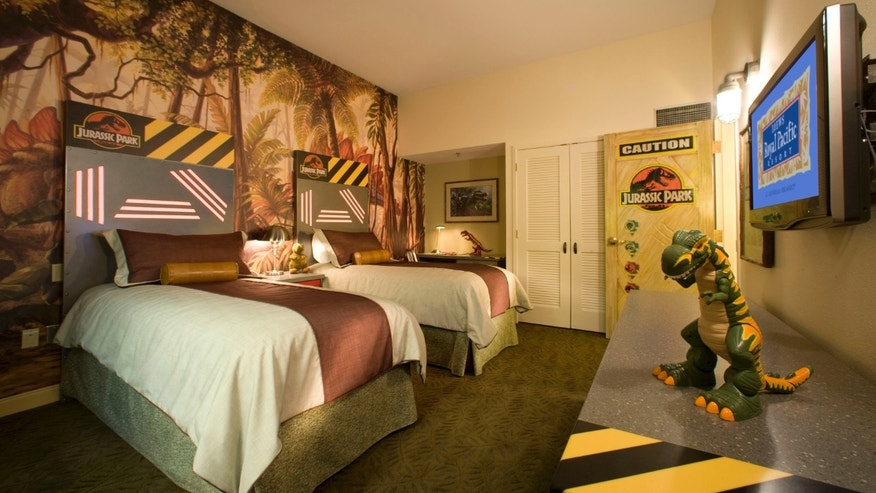 Jurassic Park-themed kids suites at Loews Royal Pacific Resort.