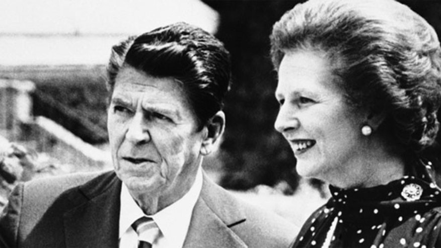 Margaret Thatcher with former President Ronald Reagan.