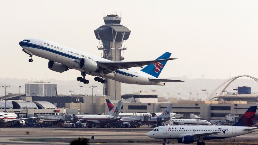 April 22, 2013: A China Southern Cargo jet takes off at LAX International airport in Los Angeles Monday