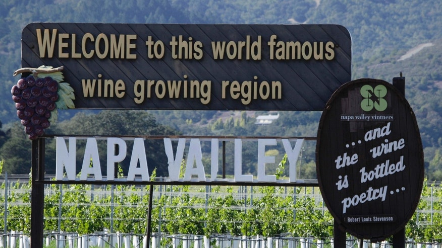 FILE:  sign along Highway 29 welcoming visitors to the Napa Valley in Oakville, Calif.