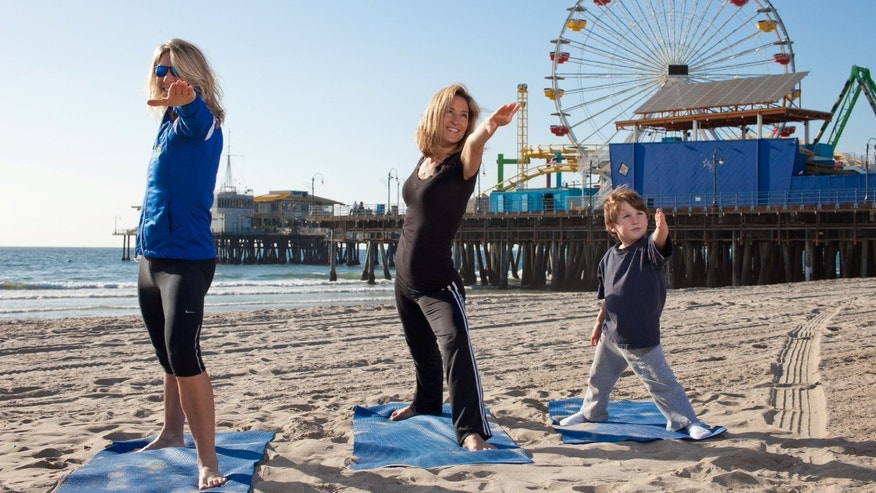Yoga on the beach, Santa Monica.