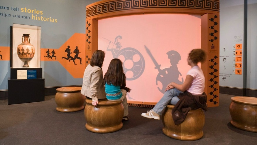 At the Getty Museum's Family Forum, kids can act out a scene from an ancient vase.