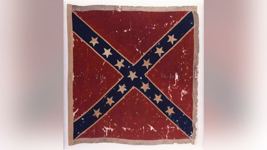 The Confederate flag of the 7th Virginia Infantry Army of Northern Virginia Obverse captured at the Battle of Gettysburg, Pa.,, in July 1863 by the 82nd New York Infantry.