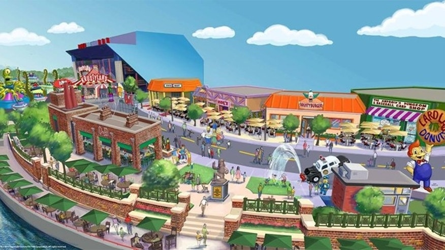 Artist rendering of new Simpsons-themed area.