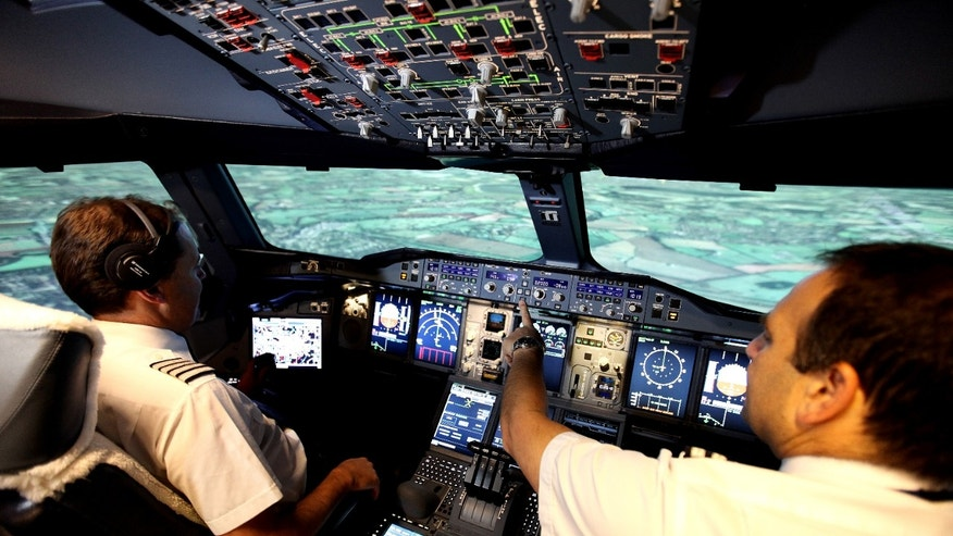 Inside the A380 simulator in London.