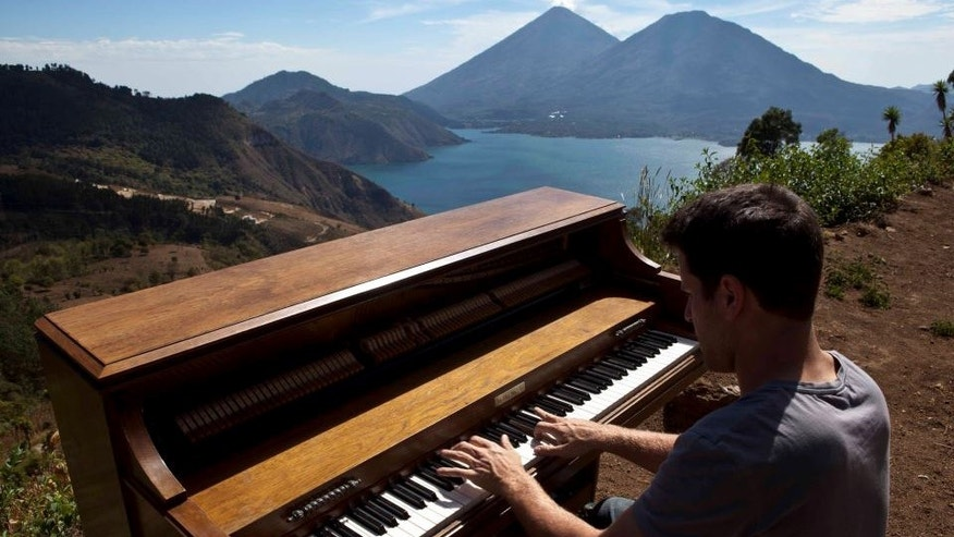 Dotan Negrin plays at Lago de Atitlan in Guatemala.