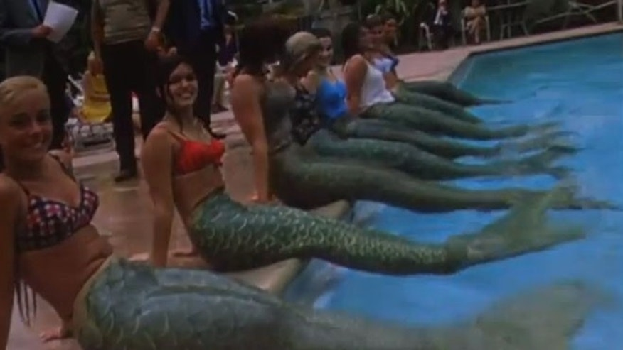 Contest at the Disneyland Hotel to find mermaids to perform on the park's Nautilus ride.