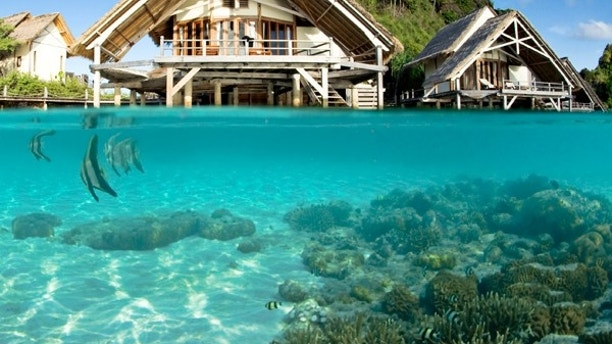 Indonesia - Misool Eco Resort  Located in Indonesia's Raja Ampat archipelago...very remote. Amazing marine life, 12 bungalows out of salvaged driftwood.