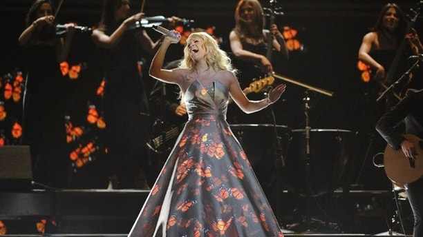 Feb. 10, 2013: Carrie Underwood performs on stage at the 55th annual Grammy Awards.