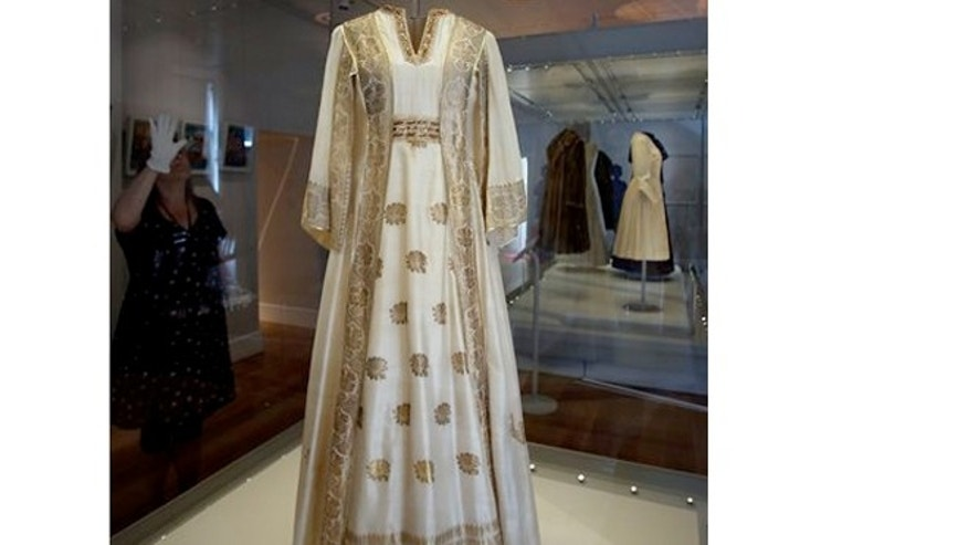 July 1, 2013: A dress worn by Princess Margaret, at the Fashion Rules exhibition at Kensington Palace in London.