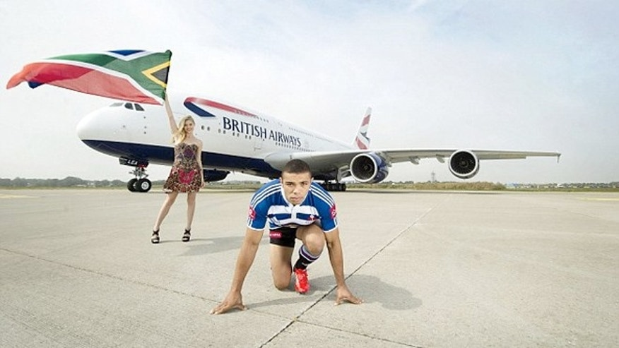 South African rugby player Bryan Habana is doing his best to reduce his carbon footprint by racing British Airways' new plane the A380.