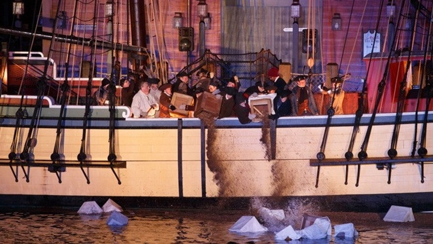 Re-enactment of the 1773 Boston Tea Party.