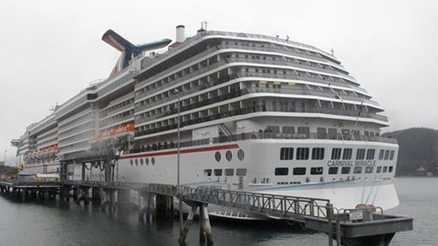 The Carnival Miracle docked in Juneau, Alaska.