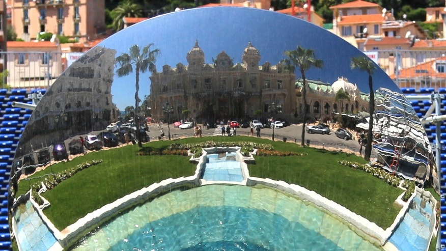"May 13, 2013:  The sculpture ""Sky Mirror,"" which faces the Monte Carlo Casino in Monaco."