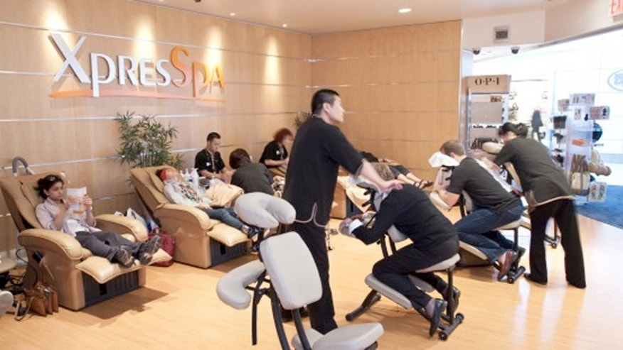 Feeling stiff from your flight?  The international terminal's XpresSpa is offering massages.