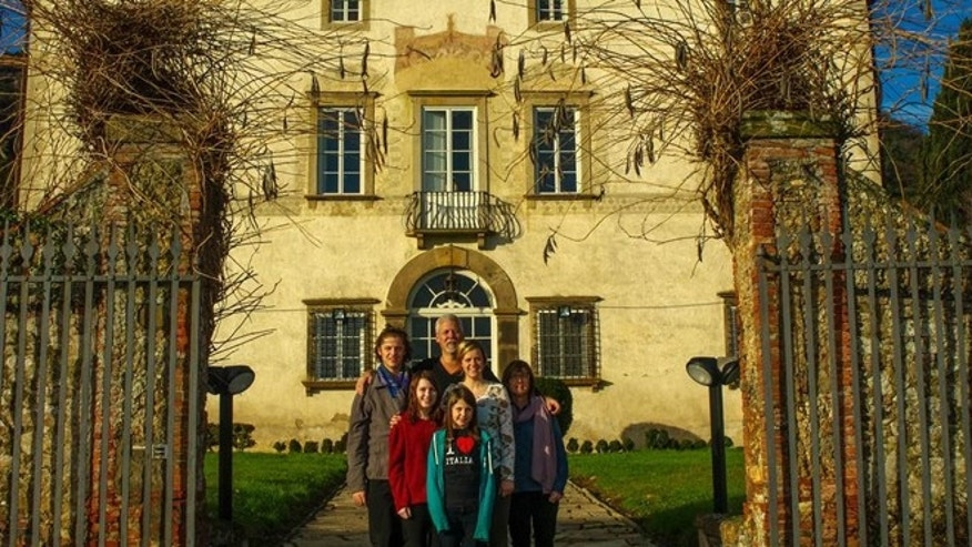 The Gatch family at their Christmas villa in Lucca, Italy.