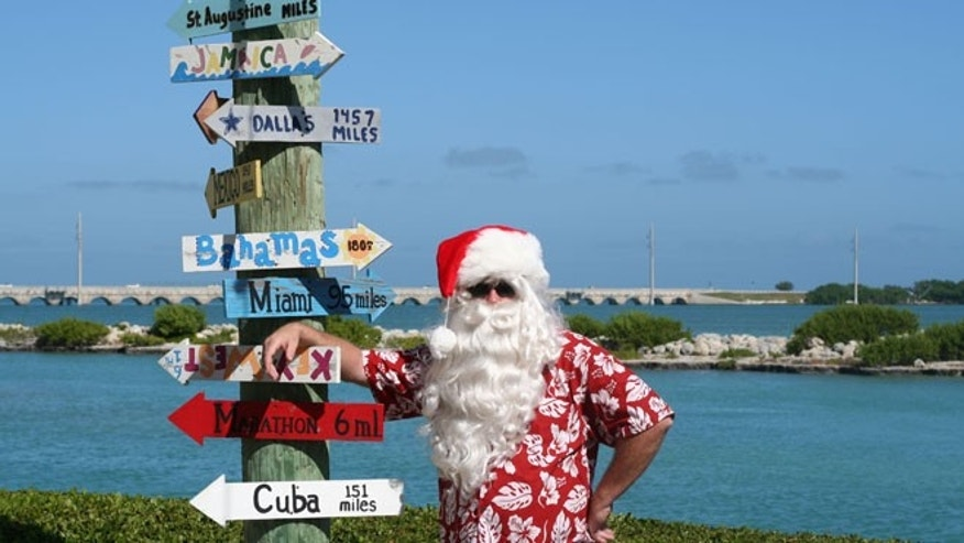 Santa at Hawks Cay Resort in the Florida Keys.