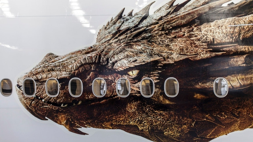 Nov. 29, 2013: An image of the dragon Smaug from Peter Jackson's Hobbit trilogy is shown on the side of an Air New Zealand plane in Auckland, New Zealand.