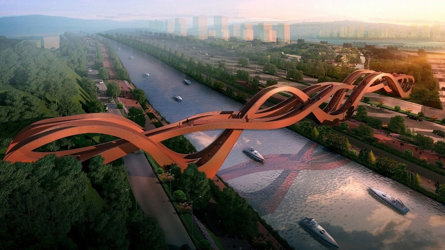 The Dutch firm NEXT Architects was awarded first prize in a competition to design a bridge, which will span a river within the town of Meixi Lake.