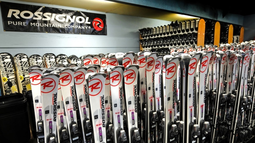 January 2013: Skis for rent at the Ski & Ride Center at Schweitzer Mountain Resort in Sandpoint, Idaho.