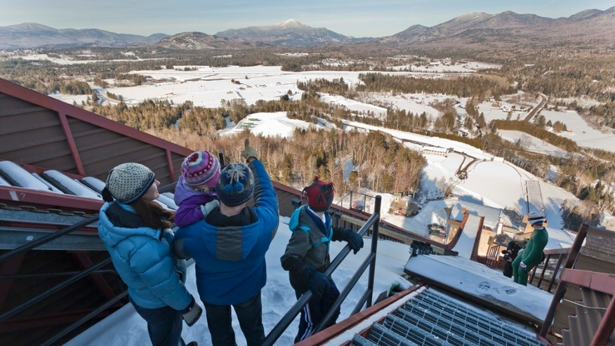 View from the top at the Lake Placid Olympic Jumping Complex.