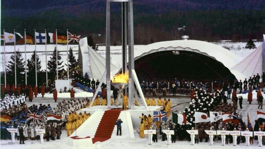 Opening Ceremony at the 1980 Winter Olympic games.