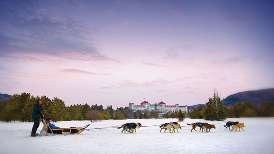 Dog sledding at Omni Mount Washington.