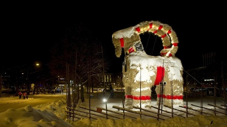 This photo shows the Gavle Goat (known in Swedish as Julbocken i Gävle or Gävlebocken) constructed from straw in the Swedish town of Gavle. The goat is a centuries-old Scandinavian yule symbol that preceded Santa Claus as the bringer of gifts.