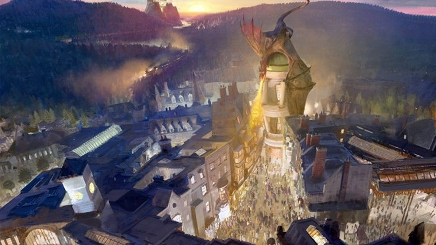 Rendering of the Wizarding World of Harry Potter - Diagon Alley new expansion.