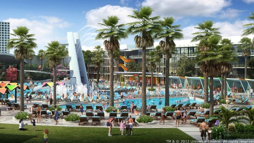 Universal's Cabana Bay Beach Resort has a hip, vintage look, the resort will offer 1800 on-site rooms, including 900 family suites.