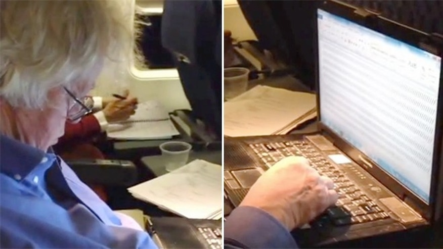 A man fell asleep on a plane with his finger on the slash key.