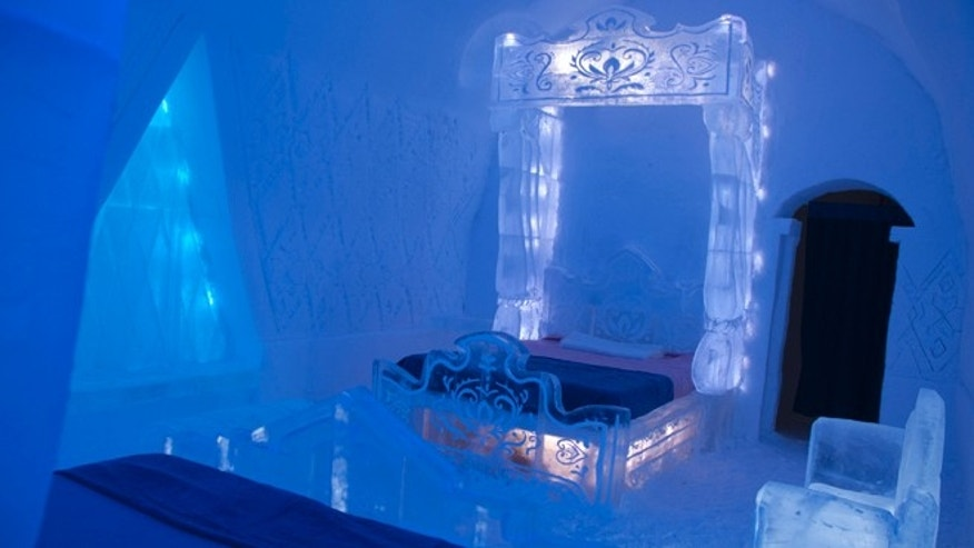 The suite is made  entirely out of sculpted ice and snow and supervised by the film's art director Michael Giaimo.