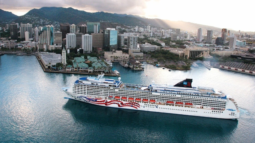 An aerial view of the Norwegian ship Pride of America in Honolulu.