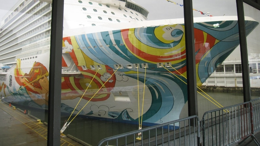 Jan. 27, 2014: Norwegian Cruise Line's colorful new cruise ship Norwegian Getaway seen behind a glass wall at Manhattan's Pier 88 on the Hudson River.