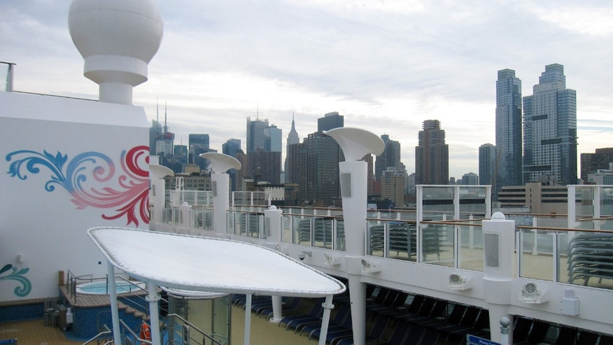 Jan. 27, 2014: The ship stopped in New York City Monday and will return later this week as a floating hotel for Super Bowl fans before heading to its new homeport in Miami.