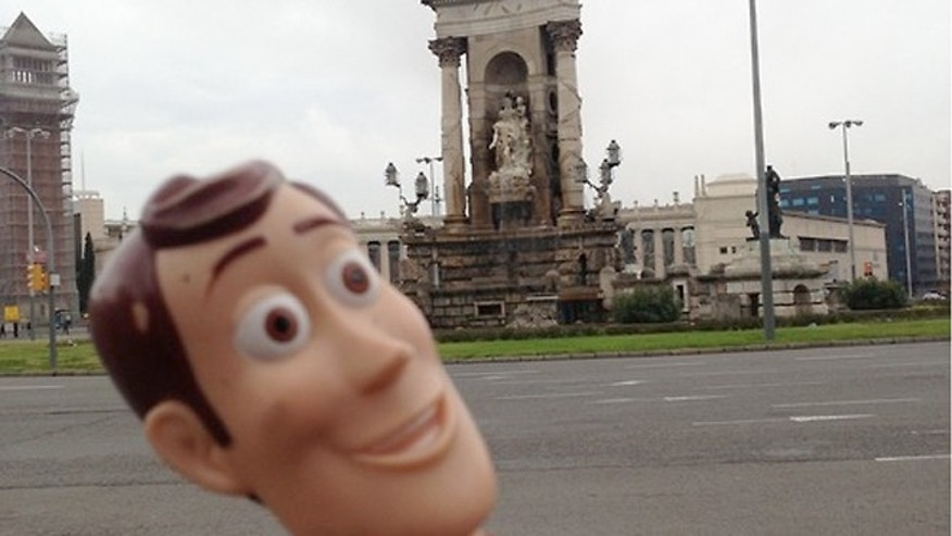 Woody at Placa d'Espanya in  Barcelona.