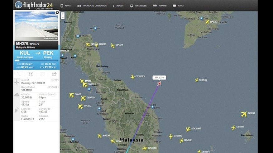 Real-time flight tracker flightradar24 offers some information on Malaysian Airlines flight 370 -- but not enough to help guide rescue workers.