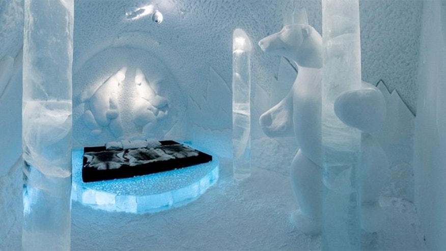 The room at the Ice Hotel near the village of Jukkasjärvi, Kiruna, Sweden