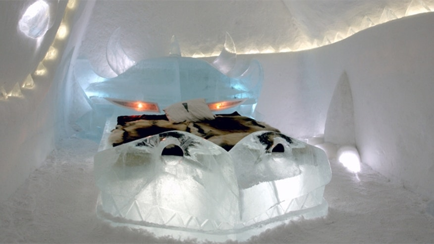 The entire hotel, from table, seats and beds, are made out of blocks of ice.