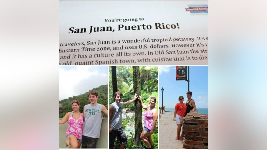 Travelers get the notice that their mystery trip is to Puerto Rico.