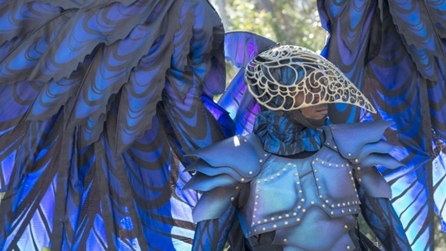 "The raven costume, based on ""Sleeping Beauty,"" has articulating wings that stretch 12 feet across."