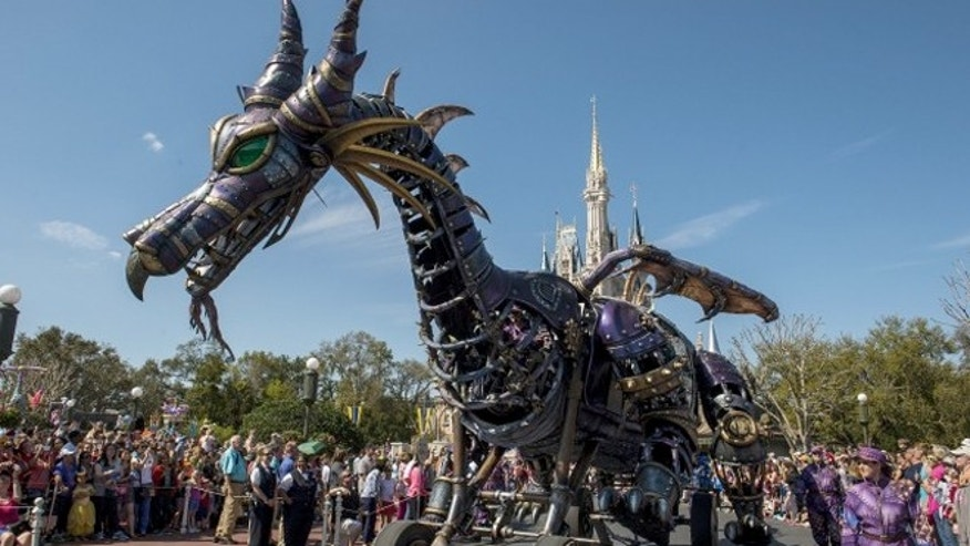 "A fire-breathing, 53-feet-long and 26-feet-tall Maleficent dragon from ""Sleeping Beauty"" makes up the New Fantasyland Parade."