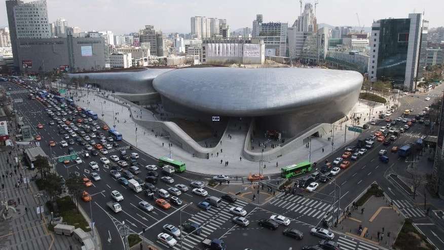 March 21: Dongdaemun Design Plaza is seen in downtown Seoul, South Korea.